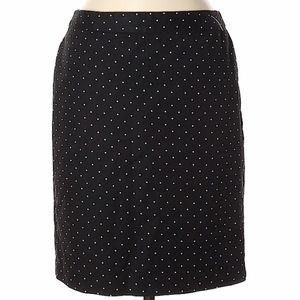 liz claiborne double cotton pencil skirt black dot